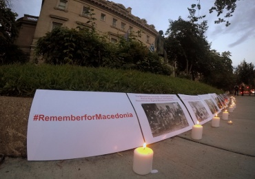 A candle vigil memorial for the victims of Greek brutality
